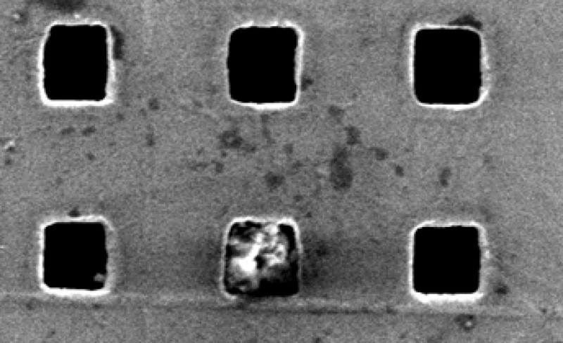 Dust Particle Trapped in Plasmonic Mesh Hole.